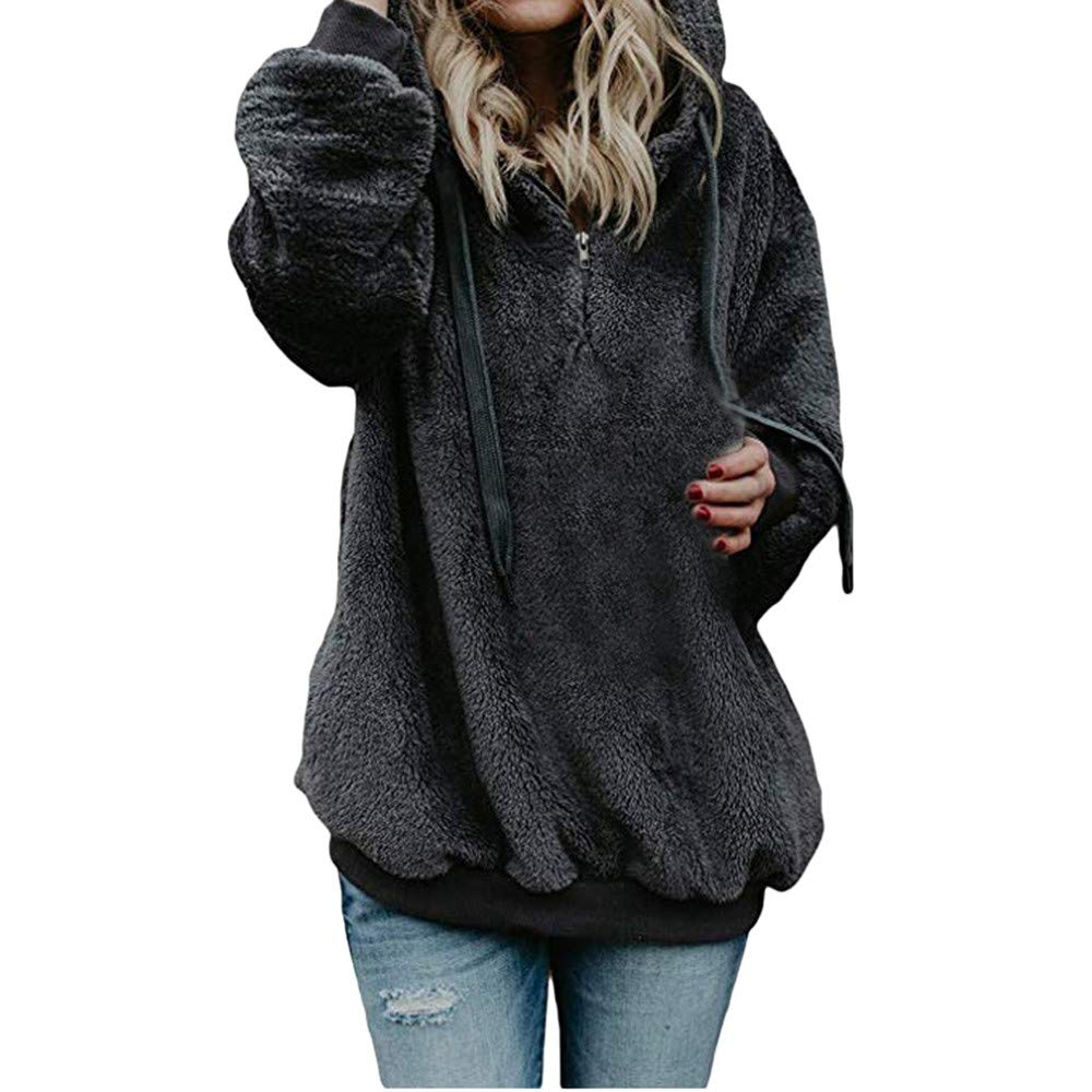Solid Color Pocket Hoodies, Clearance! Women Hooded Sweatshirt Coat Winter Warm Wool Zipper Pockets Cotton Coat Outwear