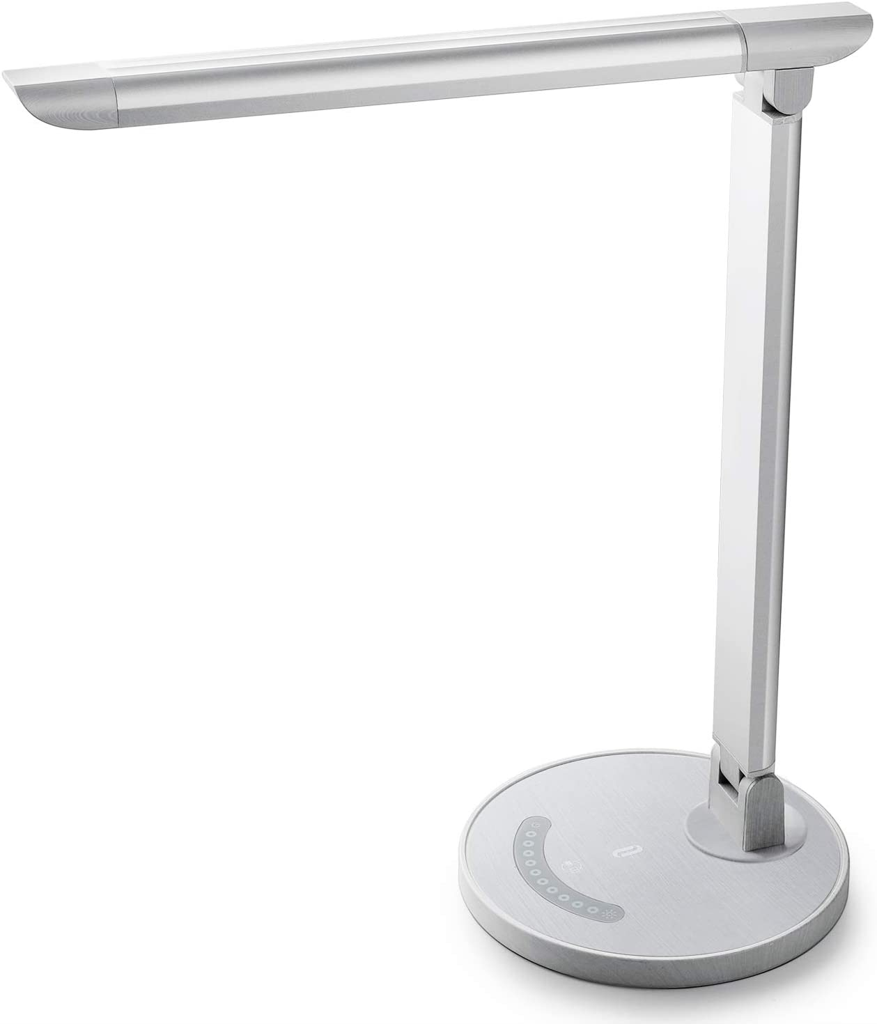 TaoTronics White Wood Grain LED Desk, Eye-Caring Table, Dimmable Office Lamp with USB Charging Port, 5 Lighting Modes with 7 Brightness Levels, Touch Control, 12W