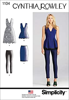 product image for Simplicity 1104 Women's Dress, Pants, Skirt, and Blouse Sewing Pattern by Cynthia Rowley, Size 14-22