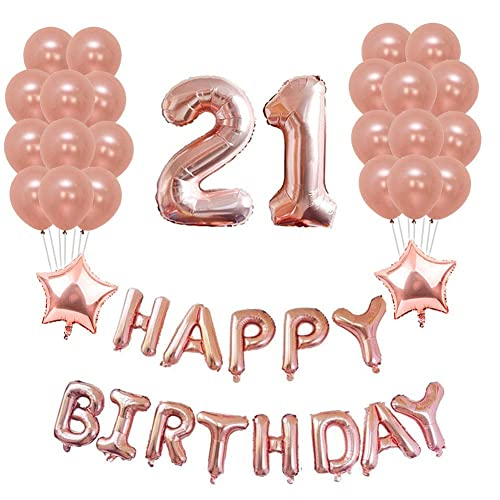 Yoart 21st Birthday Decorations Rose Gold Party Sets Happy Banner 2 Star