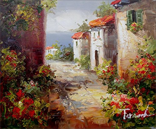100% Hand Painted Cottages in Tuscany Italy Canvas Oil Painting for Home Wall Art by Well Known Artist, Framed, Ready to Hang - Tuscany Oil Painting