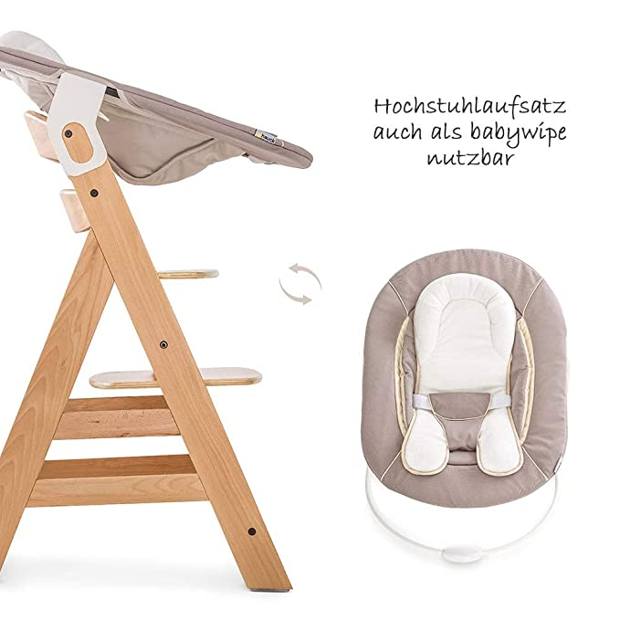 Hauck Beta Plus Newborn Set - Trona de madera evolutiva bebés, incluye hamaca para recién nacidos, cojín, bandeja, altura regulable - color Nature/Beige: ...