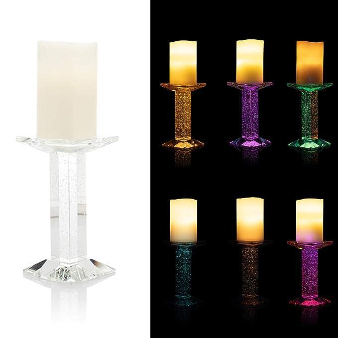 DbKW LED Kerze mit zauberhaftem Glas Kerzenständer, Bubble Effekt durch doppelte LED Beleuchtung, Timer, Warmweißes Licht oder Farbwechsel