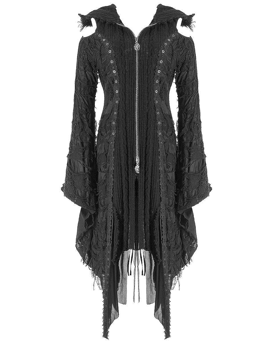 89f432745e Punk Rave Womens Hooded Cardigan Jacket Black Gothic Dieselpunk Witch  Knitted: Amazon.co.uk: Clothing
