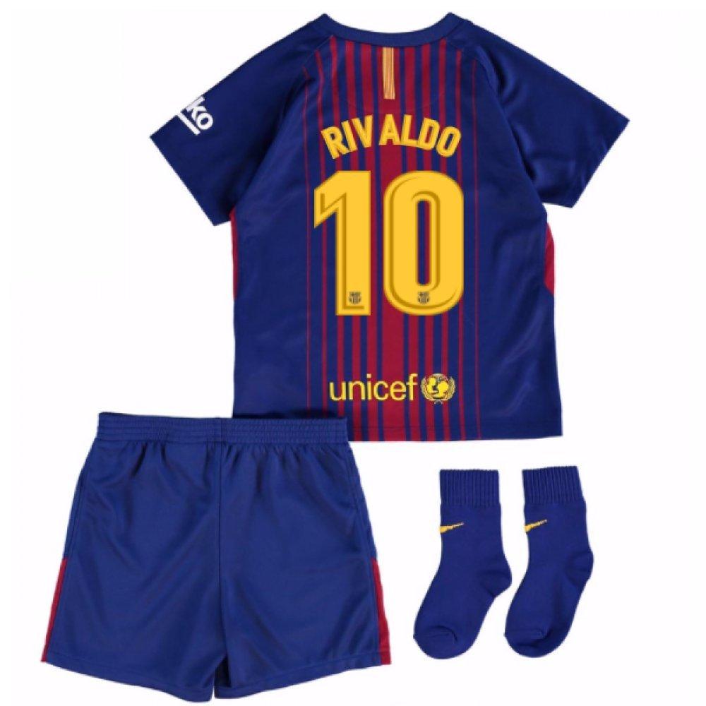 2017-18 Barcelona Home Baby Kit (Rivaldo 10) B077PVXZCSRed 18/24 Months
