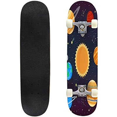 Classic Concave Skateboard Set with Cute Cartoon Planets on Cosmic Background can be Used for Longboard Maple Deck Extreme Sports and Outdoors Double Kick Trick for Beginners and Professionals : Sports & Outdoors