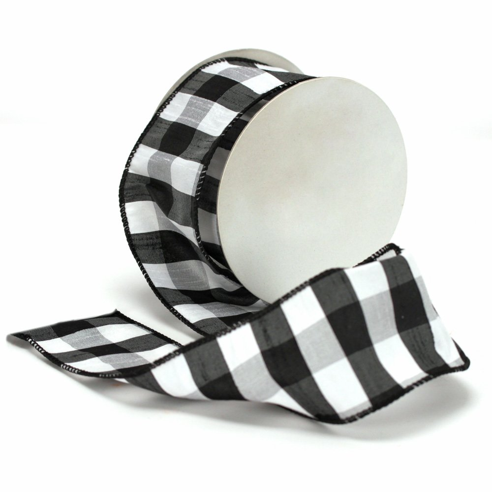 LOVATIC Black and White Plaid Wired Ribbon,