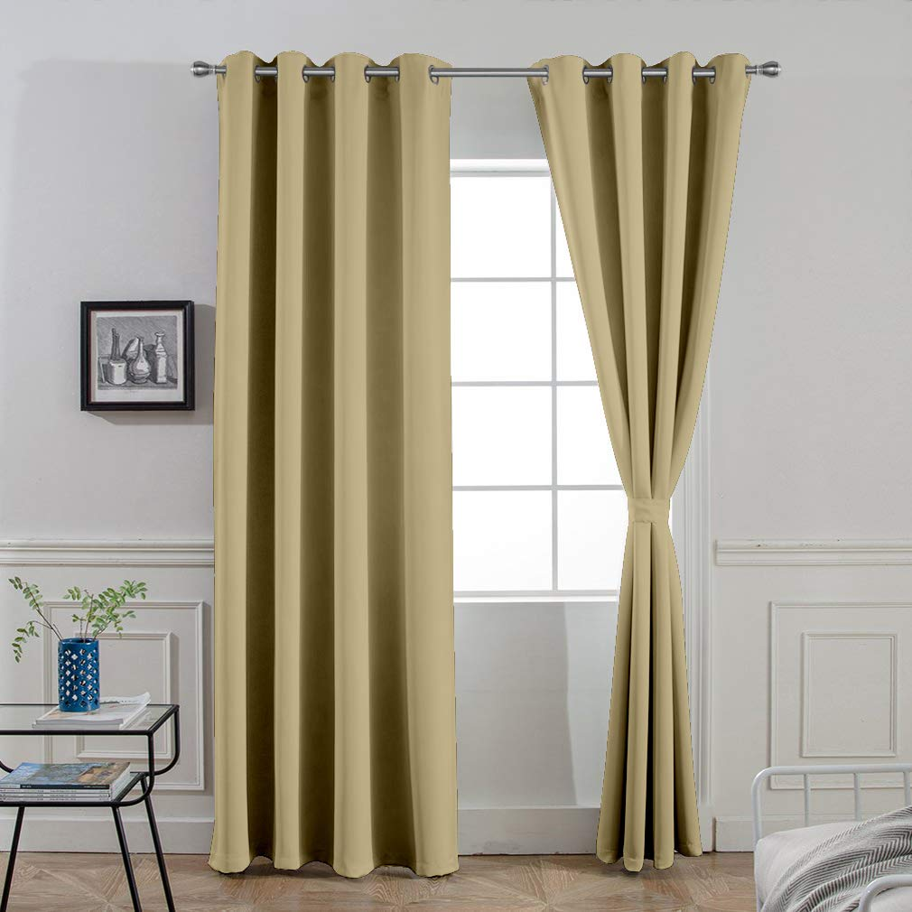 Buy Divine Casa Blackout Curtains Thermal Insulated With Grommet Solid Door Curtains For Living Room Bedroom 47 X 84 Inch Khakhi 2 Panels Online At Low Prices In India Amazon In