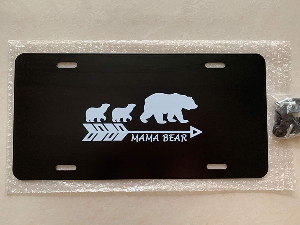 12 x 6 URCustomPro Mama Bear Mother Bear Personalized Aluminum License Plate Cover for Women//Men Metal Car Tag Sign Decor for US Vehicles