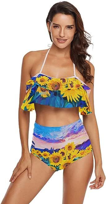 Amazon.com: Qceivl Yellow Sunflowers Women's Bikini High
