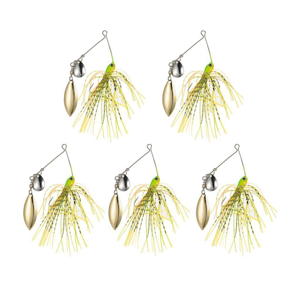 Metal Lure 5pcs/lot Wobblers Sinking Fishing Lure Spinnerbait 14g Colorado Willow Blades Flash Chartreuse Spoon Sequins Lures