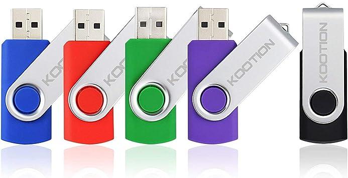 KOOTION 5 X 2GB USB Flash Drives Thumb Drives Memory Stick USB 2.0 5 Colors: Black Blue Green Purple Red