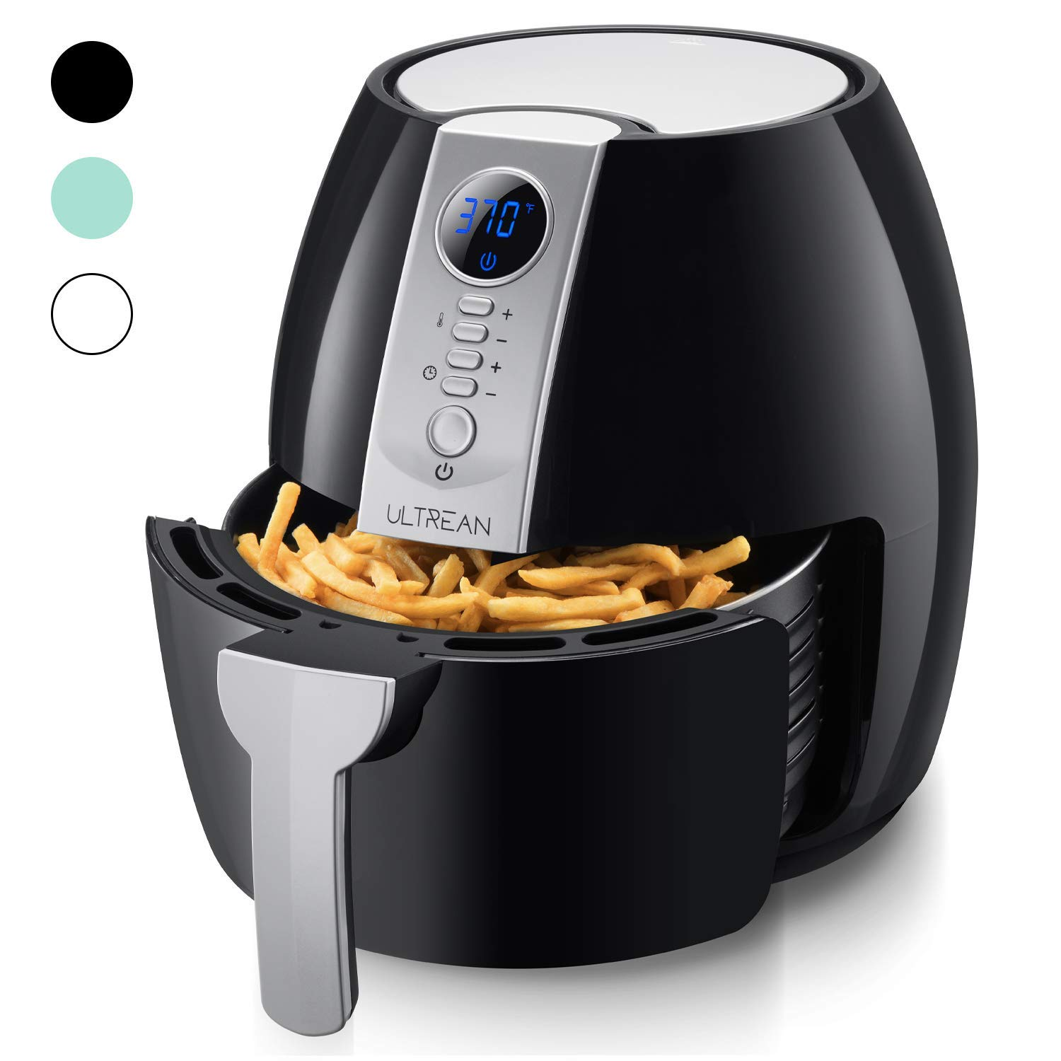 Ultrean Air Fryer, 4.2 Quart (4 Liter) Electric Hot Air Fryers Oven Oilless Cooker with LCD Digital Screen and Nonstick Frying Pot, ETL/UL Certified,1-Year Warranty,1500W (White) (Renewed)