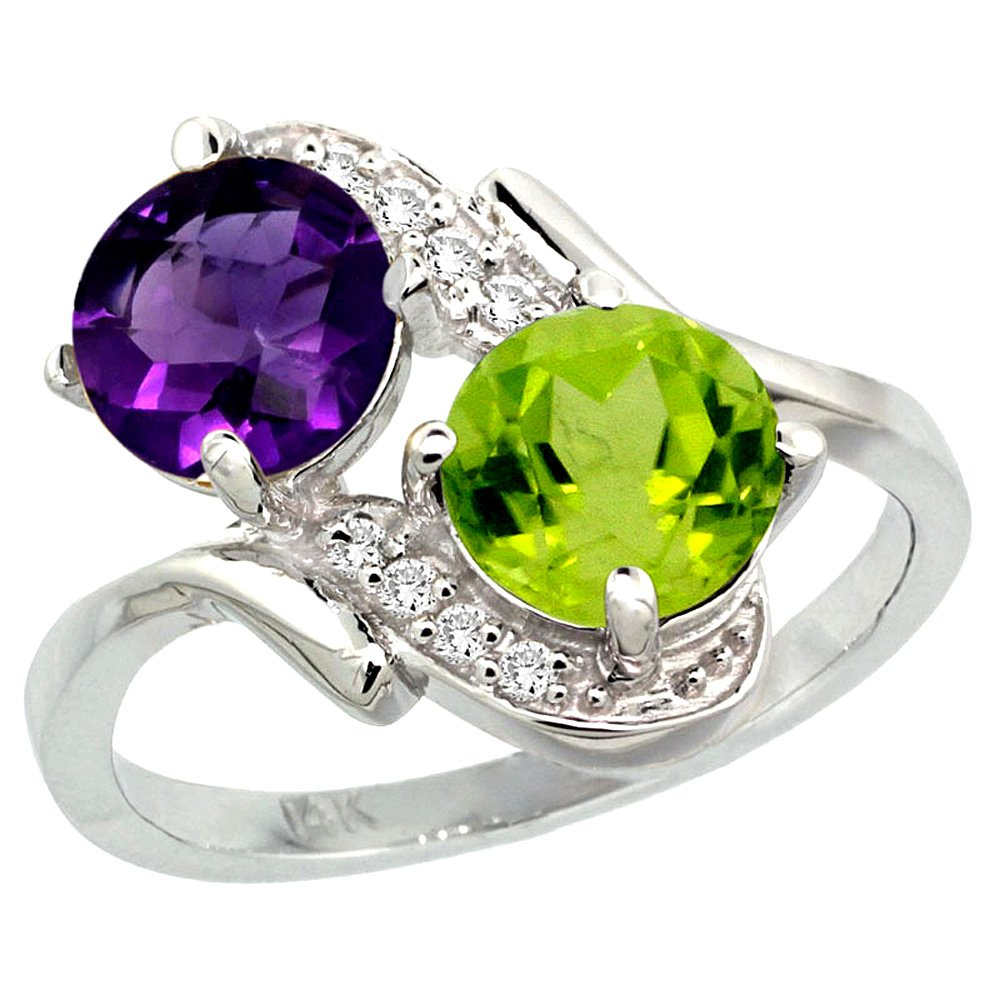 14k White Gold Diamond Natural Amethyst & Peridot Mother's Ring Round 7mm, size 6.5