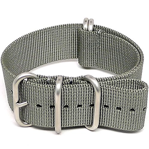 DaLuca Ballistic Nylon Military Watch Strap - Grey (Matte Buckle) : 24mm