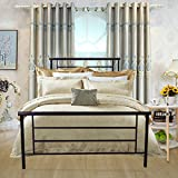HomeRecommend Metal Bed Platform Box Spring Replacement Foundation with Headboards & Hevay Duty Steel Slats, Twin