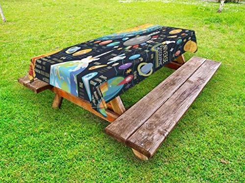 Lunarable Outer Space Outdoor Tablecloth, New Horizons Solar System Infographic Pluto Venus Mars Jupiter Skyrocket, Decorative Washable Picnic Table Cloth, 58 X 84 Inches, Multicolor by Lunarable