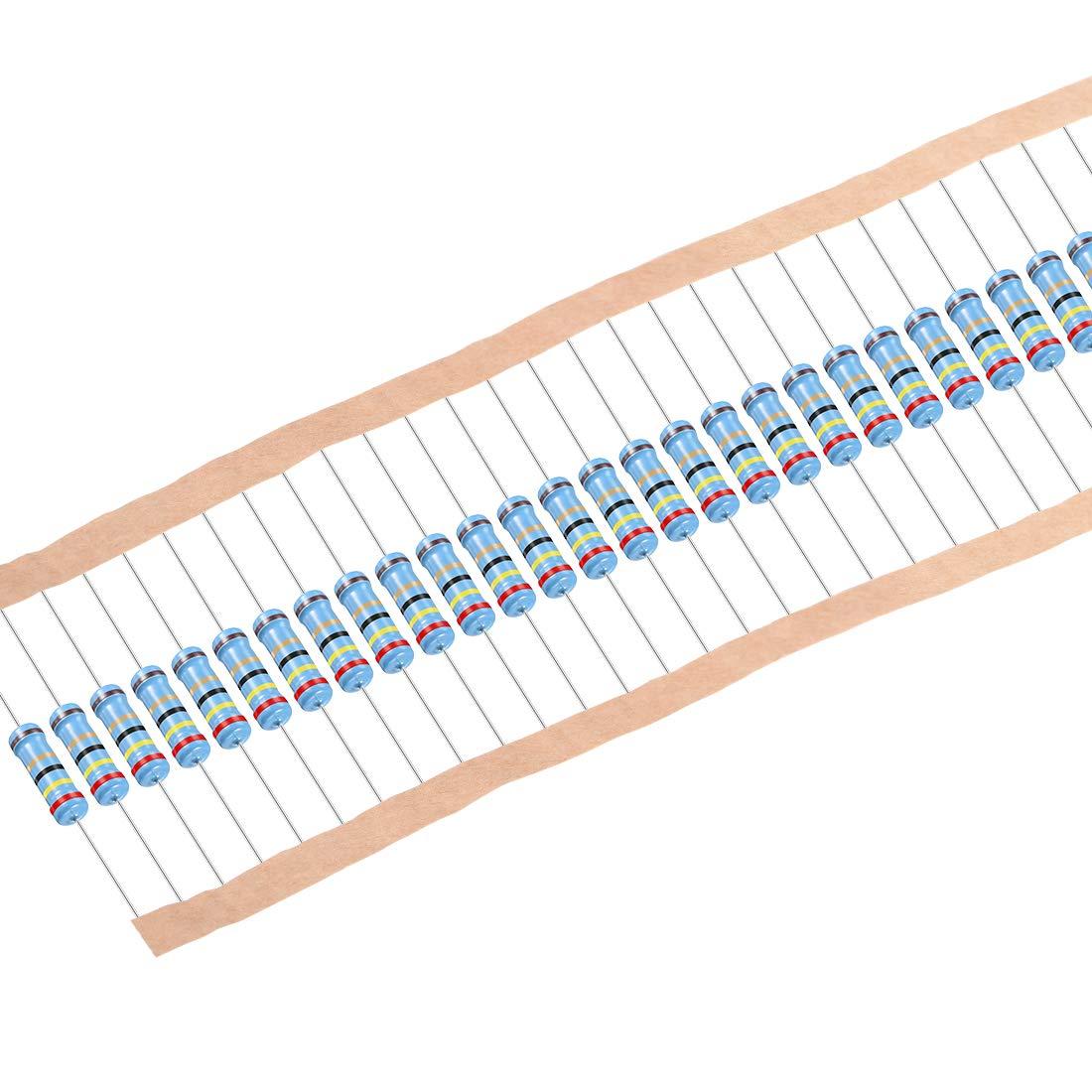 sourcing map 30 stk Metall Filmwiderst/ände 220 Ohm 1W 1/% Toleranzen 5 Farbe B/änder