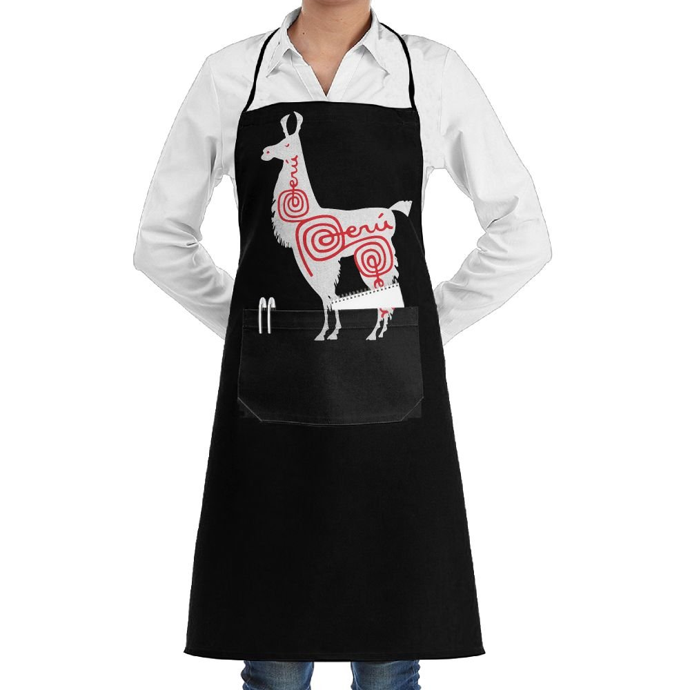 Alpaca Peru Adjustable Cooking Kitchen Aprons With Pockets For Men Women