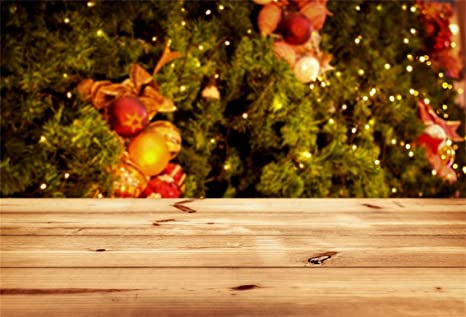 Leyiyi 9x6ft Merry Christmas Backdrop Blurred Pine Branches Needles Decoration Balls Sunlight Rustic Wooden Board Lay