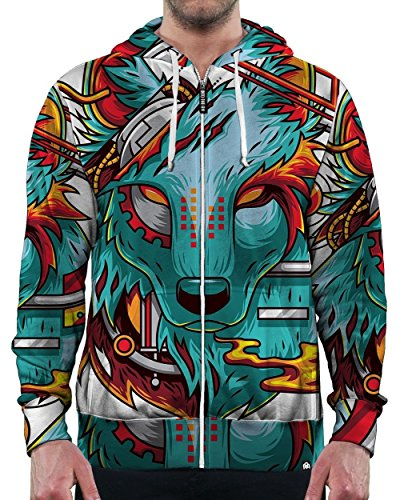 INTO THE AM Digital Wolf Zip-Up Hoodie - Summer Festival To What Wear Music To