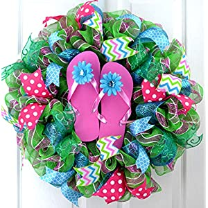Summer Flip Flop Wreath | Spring Beach Decoration | Lake House Decor | Sandals Front Door Wreath 12