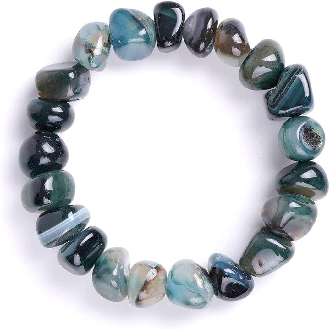 Pulsera de cuentas de ágata verde oscuro Pulseras elásticas de cristal Forma irregular Pulseras de piedras de palma caídas pulidas para mujeres