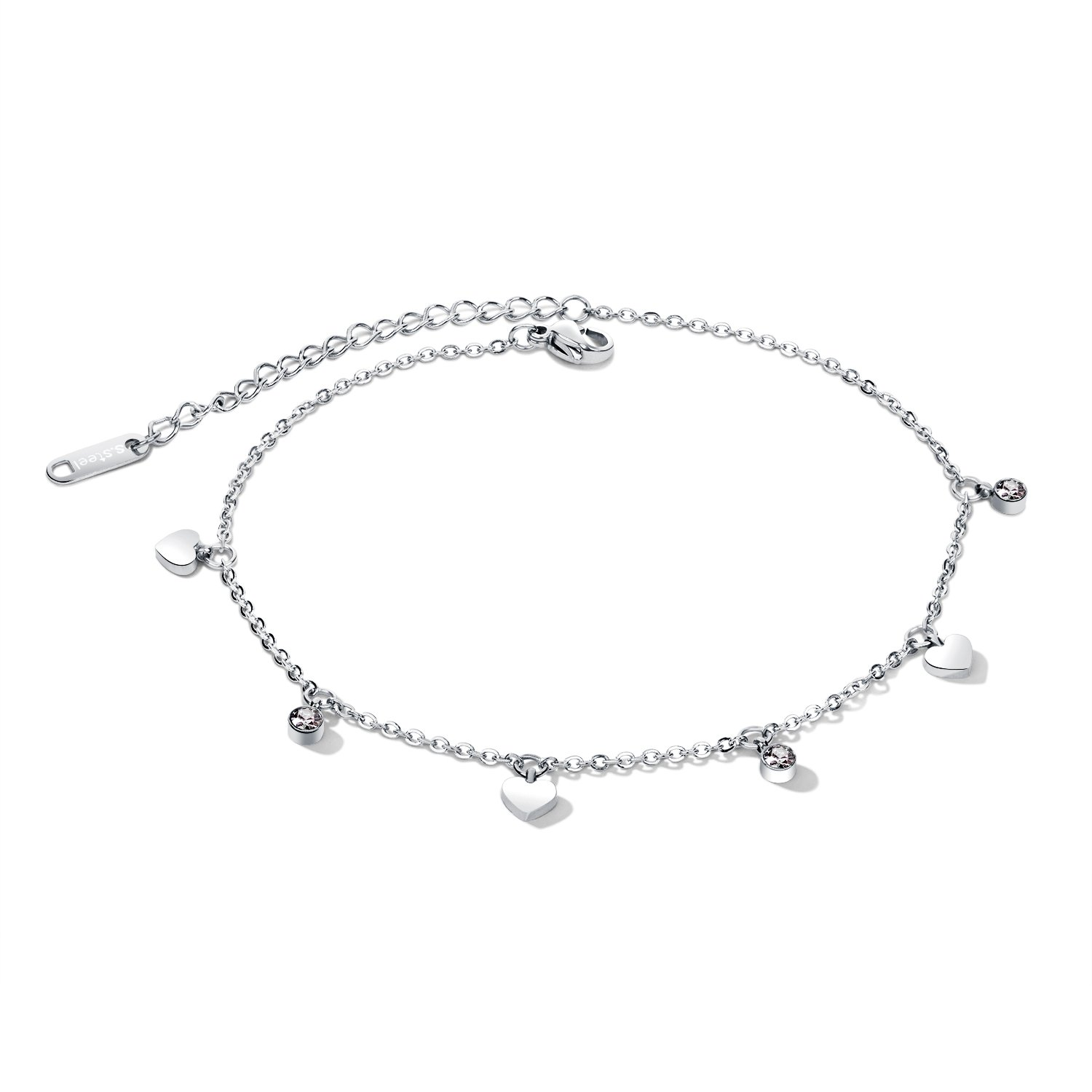 Fate Love Jewelry Rose Gold/Silver CZ Stone Love Heart Dangle Sexy Foot Anklets Bracelets for Women, Adjust Charm Chain 210mm+60mm