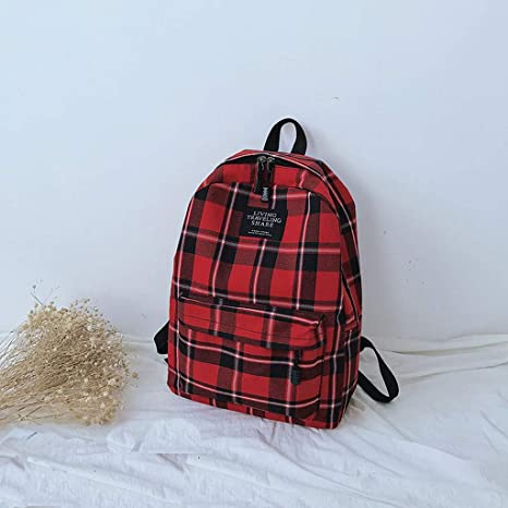 College Style Leisure Backpack Lomsarsh Backpack Women New Bag Female Student College Wind Bag Plaid Canvas Backpack Travel Bag Fashion