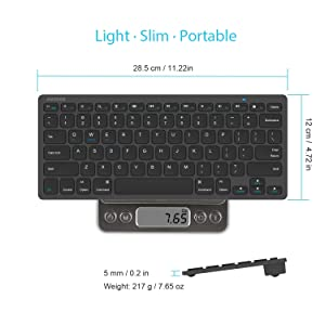 Arteck Ultra-Slim Bluetooth Keyboard Compatible with 2018 iPad Pro 11/12.9, New iPad 9.7 Inch, iPad Air, iPad Mini, iPhone and Other Bluetooth Enabled Devices Including iOS, Android, Windows, Black (Color: Black)