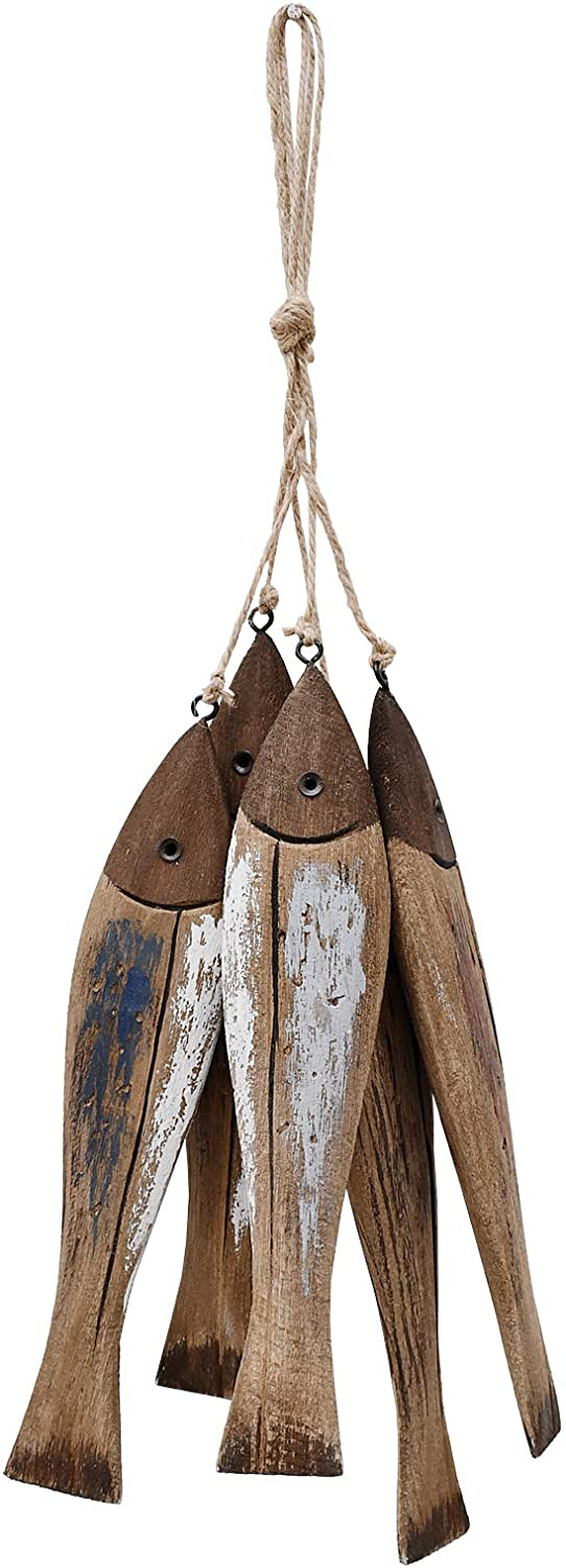 Wooden Fish Decor Hanging Wood Fish Decorations for Wall, Rustic Nautical Fish Decor Beach Theme Home Decoration Fish Sculpture Home Decor for Bathroom Bedroom Lake House Decoration (Light Brown)