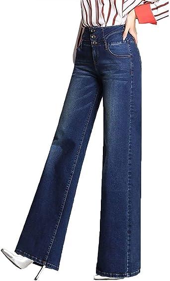 Pantalones Vaqueros Para Mujer Pantalones Sueltos Un Solo Botonadura Con Ropa Bolsillos Pantalones Rectos Y Anchos Pantalones Vaqueros Casuales Y Comodos Amazon Es Ropa Y Accesorios