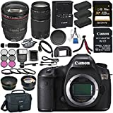 Canon EOS 5DS 5D S DSLR Camera + Canon EF 24-105mm f/4L IS USM Lens 0344B002 + Canon EF 75-300mm III Lens + LPE-6 Lithium Ion Battery + Sony 128GB SDXC Card + Canon W-E1 Wi-Fi Adapter Bundle