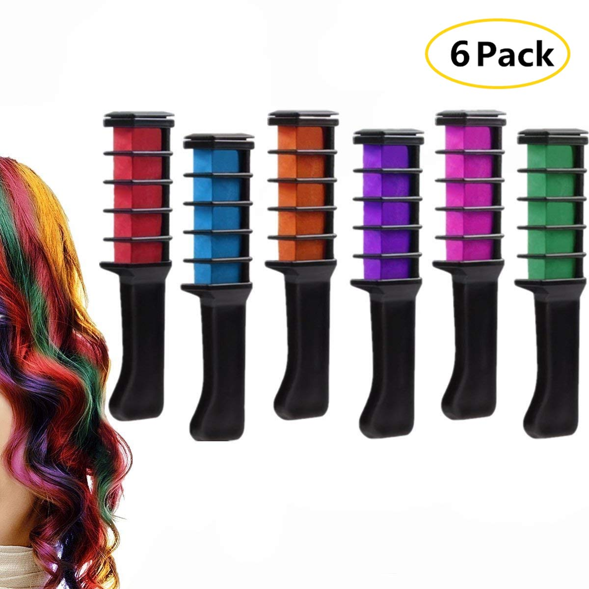 Hair Chalk Comb Set,Washable Temporary Bright Hair Color Dye for Boys and Girls Dress Up,Party, Salon Art DIY,Cosplay,Edge Chalkers,6 Colors