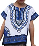 Raan Pah Muang RaanPahMuang Unisex Bright African White Children Dashiki Cotton Shirt, 3-6 Years Tall, Blue On White