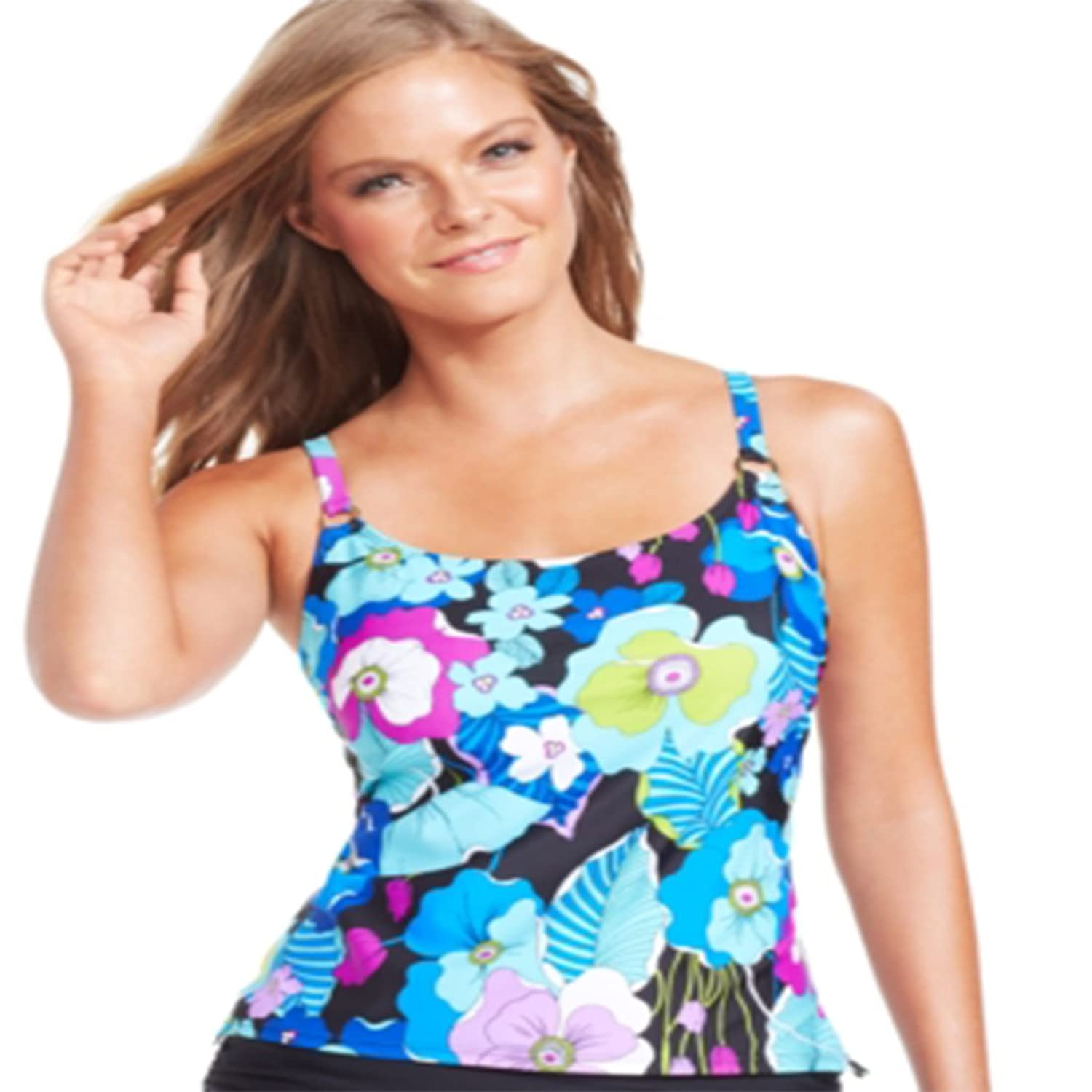 Island Escape tropical-floral-print Tankini Topレディース水着Aqua 8 B01C391O2S