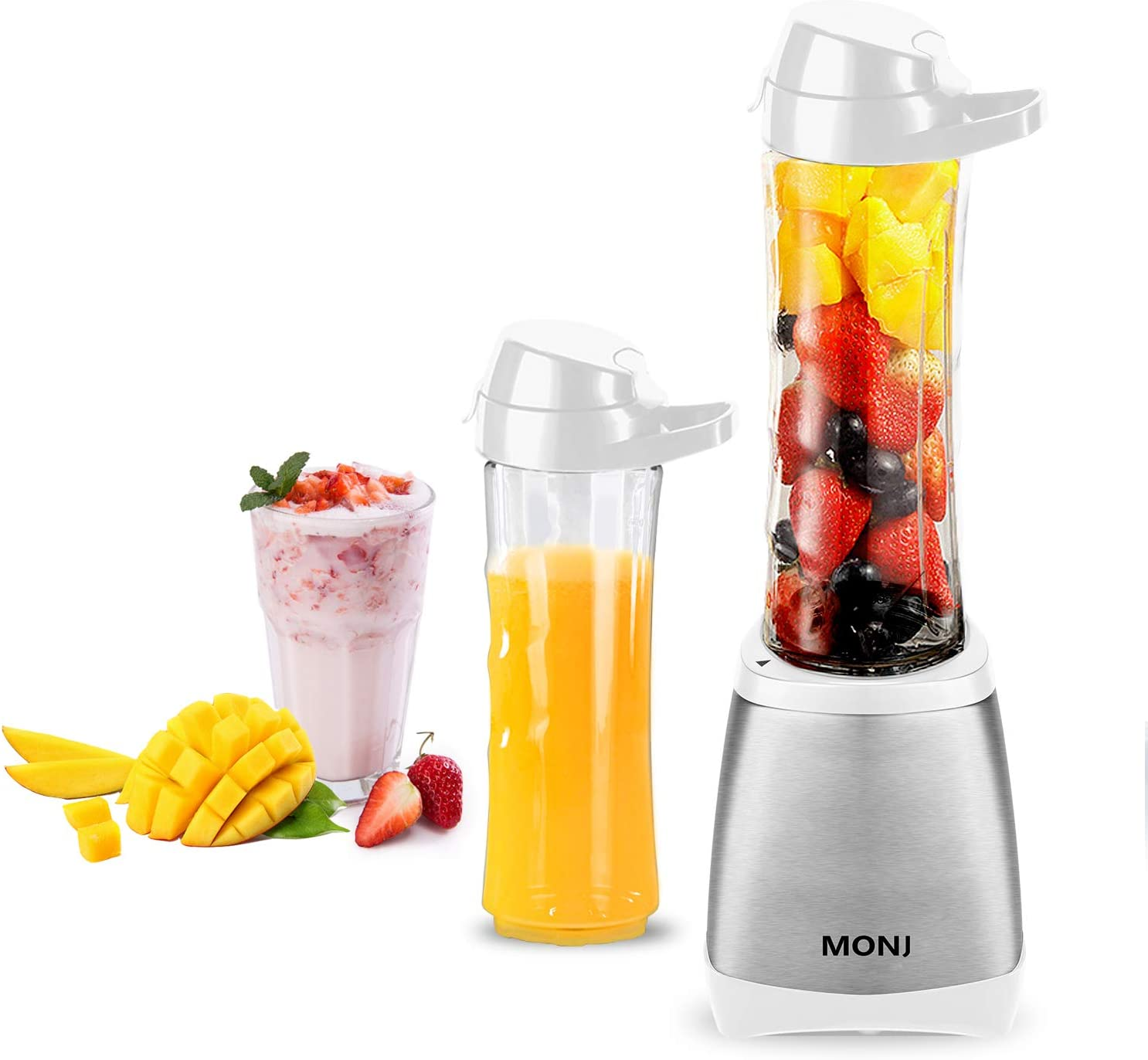 MONJ Personal Countertop Blender for Juices, Shakes and Smoothies, 300W Single Serve Small Blender with 2x20oz Tritan BPA-Free Sports Bottles-white