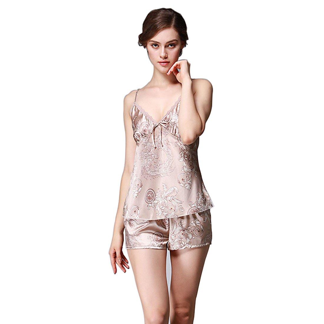 c4ee04fe9 Daiwenwo Women Pajama Shorts Set Summer Bath Pajamas Ladies Faux Silk Female  Home Tops + Pants Set (XXL, TZ012-Camel) at Amazon Women's Clothing store: