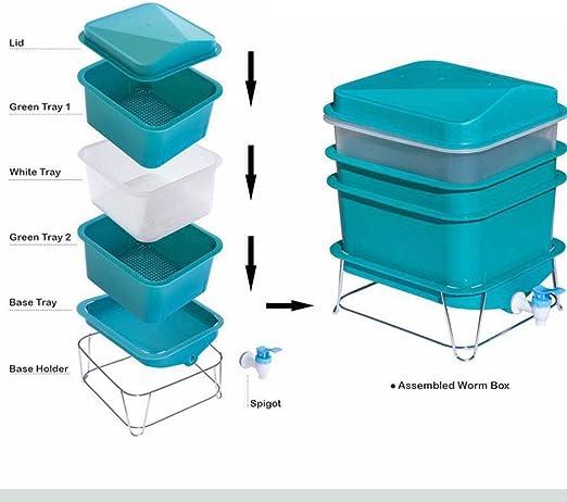 Galapara 4-Tray Worm Factory Composter Waste Bin System Gardening 42x42x60 cm