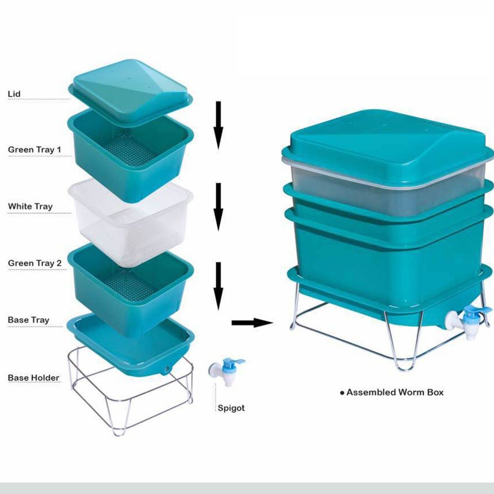 4-Tray Worm Factory Farm Compost Small Compact Bin Set by Quest (Image #4)
