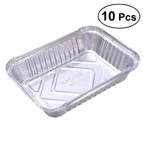 BESTONZON 10 Piezas Desechables BBQ Goteo Bandeja Bandeja de Papel de Aluminio revestimientos de estaño para