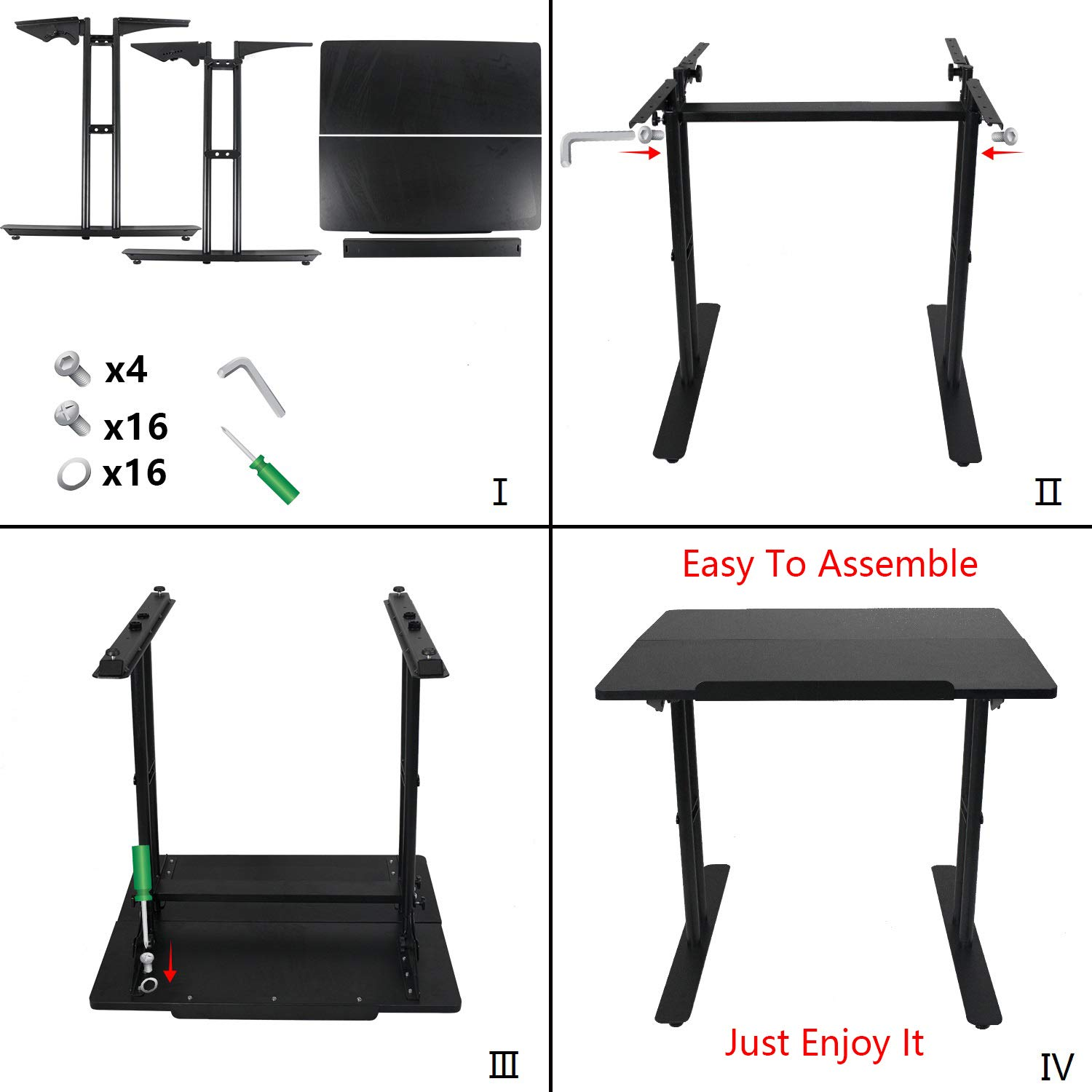 Heyesk Stand Up Desk Height Adjustable Home Office Desk with Standing (Black) by heyesk (Image #4)