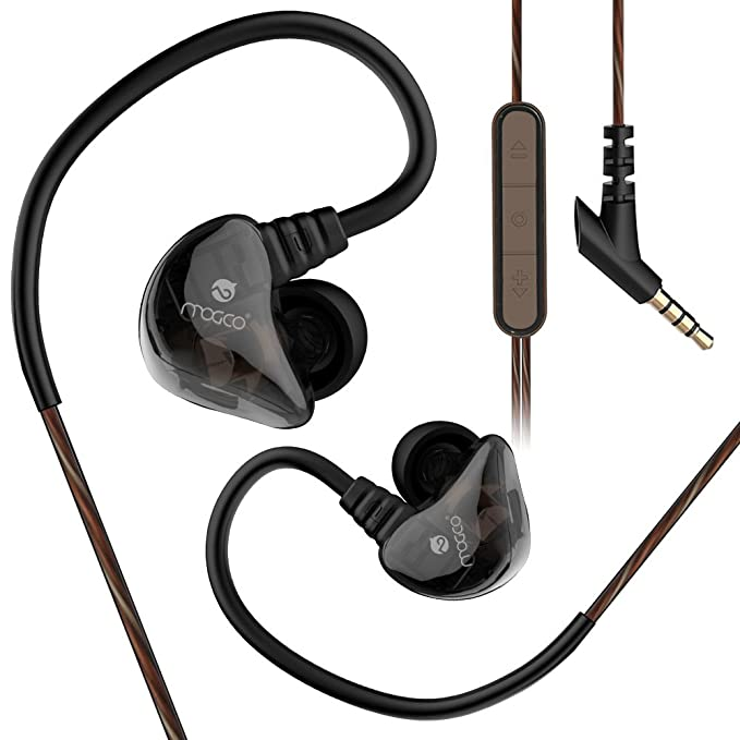 92a2efcd7d6 MOGCO Wired in-Ear Earbud Headphones with Mic Volume Control, Dual Driver  Sports Earphones