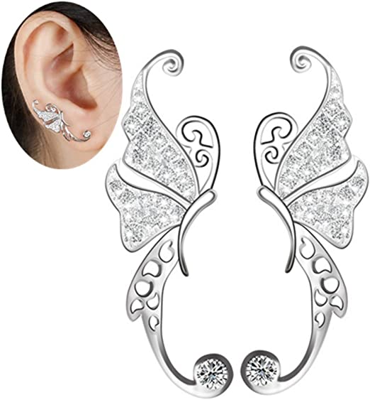 925 Sterling Silver CZ Crystal Sweep Up Earrings