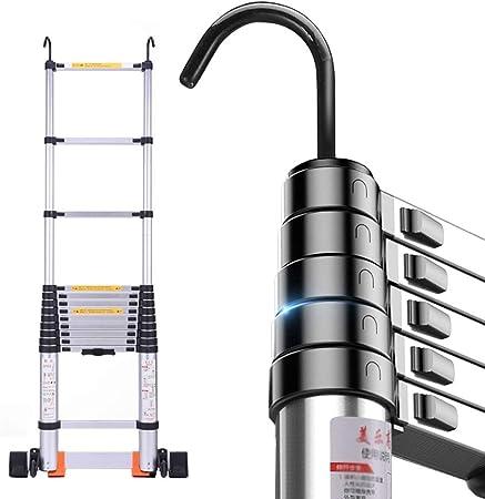 Escaleras Telescópicas Multifunción Escalera Telescópica Plegable de Aluminio con Gancho, Escalera de Extensión Portátil con Barra Estabilizadora, para Patio de Ingeniería Loft, Capacidad de 330 lb: Amazon.es: Hogar