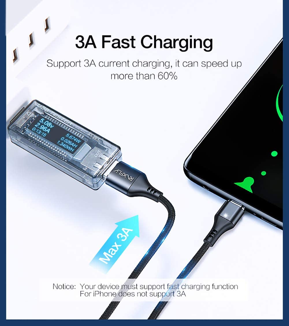 Multi 3-in-1 Cable Charger with LED,3 Charging Adapters.Compatible with Android /& iOS QKa Magnetic USB Charging Cable Micro USB Type C Lightning