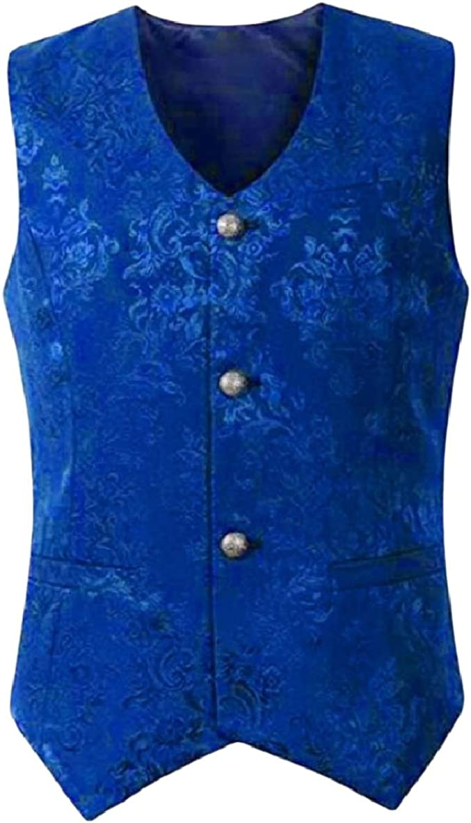 Tootless-Men Button Casual Medieval Vest Jacquard Jackets Waistcoat