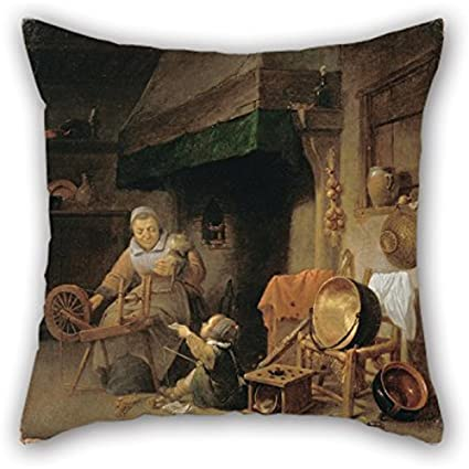 Cool Amazon Com Oil Painting Nys Pieter Woman Spinning Throw Machost Co Dining Chair Design Ideas Machostcouk