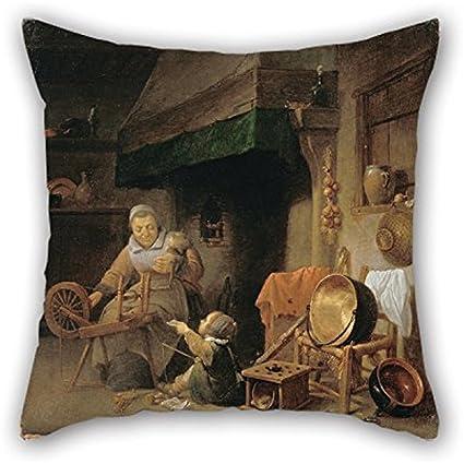 Strange Amazon Com Oil Painting Nys Pieter Woman Spinning Throw Machost Co Dining Chair Design Ideas Machostcouk