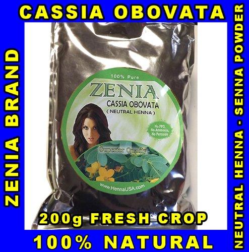 200g CASSIA OBOVATA Zenia Brand Neutral Henna Senna Powder 100% ()
